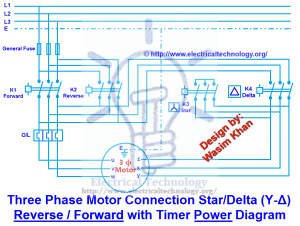 Three Phase Motor Connection StarDelta (YΔ) Reverse