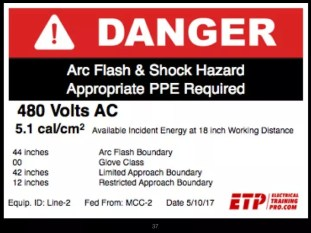 arc flash label from online 70e for managers