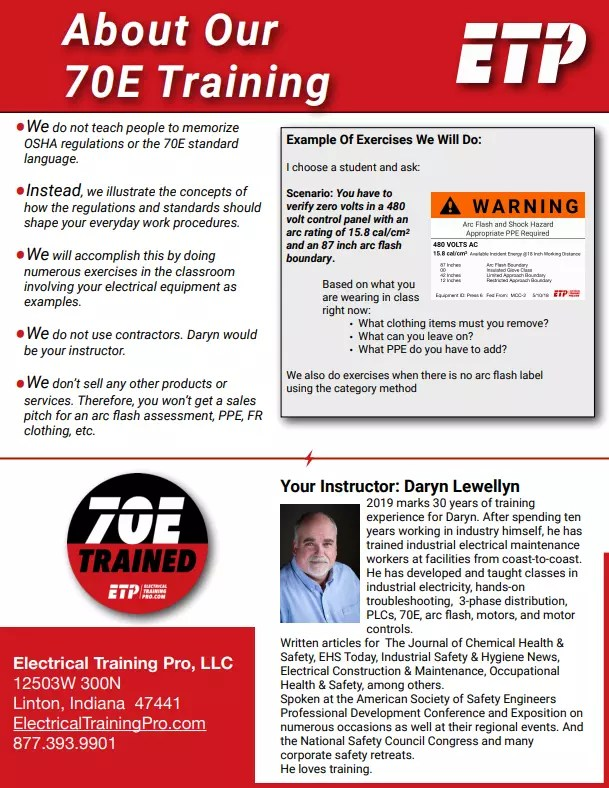 Electrical Safety For Qualified Workers NFPA 70E Arc Flash