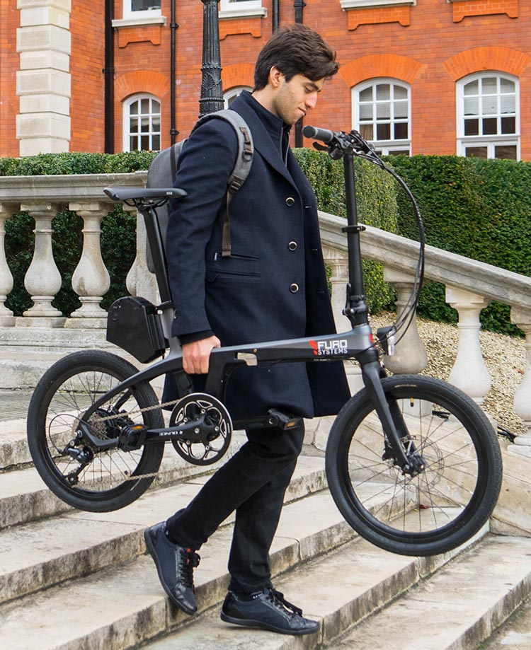 FuroSystems New Carbon Frame E-Bikes - Carbon Folding Ebike and Mountain E-Bike. You can take the FX Folding E-Bike pretty much anywhere