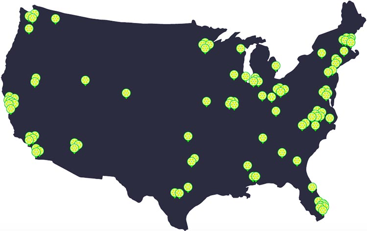 Lime Bikes and Scooters for Shared Transport Options. The location of Lime bike share programs across the USA