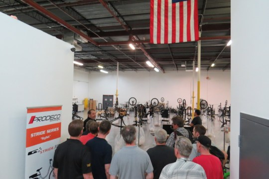 Robert Provost, CEO of ProdecoTech started the tour of the facility at the full bike assembly area.