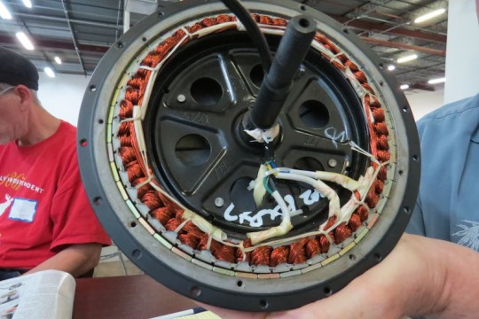 The inside of a direct drive electric bike motor.