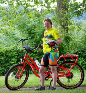 Cathy Rogers and her Pedego Interceptor electric bike. Ready to ride 3,300 miles!