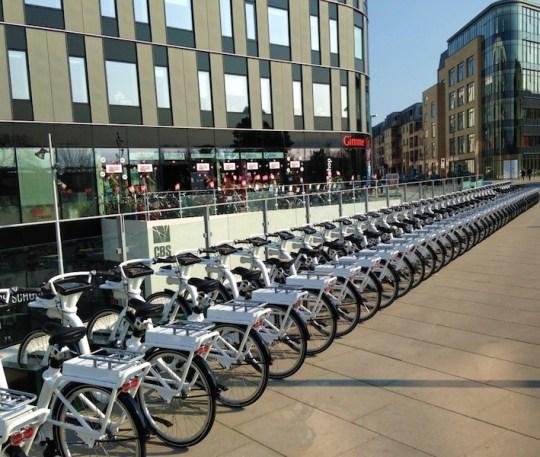Copenhagen electric bike share program station