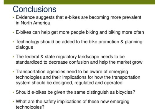 electric bike survey conclusions