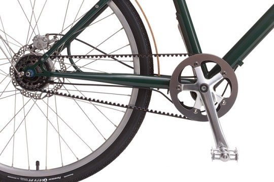 The Gates Belt Drive and Shimano 8 speed inter ally geared hub on the Porteur.