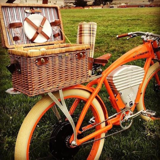 vintage e-tracker electric bike picnic basket