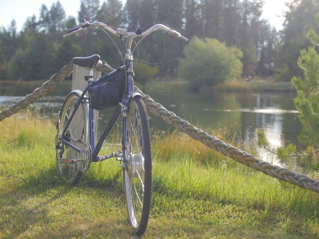 There's something nostalgic about a city bike dressed with fenders sitting next to a river.