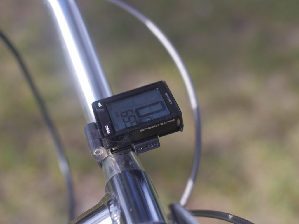 "The kit comes with this wireless Specialized cyclometer. The best way to monitor battery levels with the 250 watt kit is to keep track of distance traveled. It's the electric bike equivalent of ""dead reckoning""."