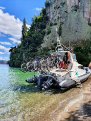 """The bikes sat firmly on the boat """"We've never lost one yet"""" says the skipper"""