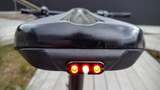 Even without a rack there is a taillight built into the seat