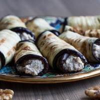 Eggplant rolls with walnuts and feta