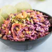 Thai red cabbage slaw with lime sriracha mayo