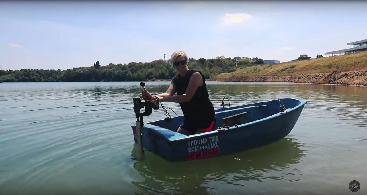 a rowboat powered by an electric drill