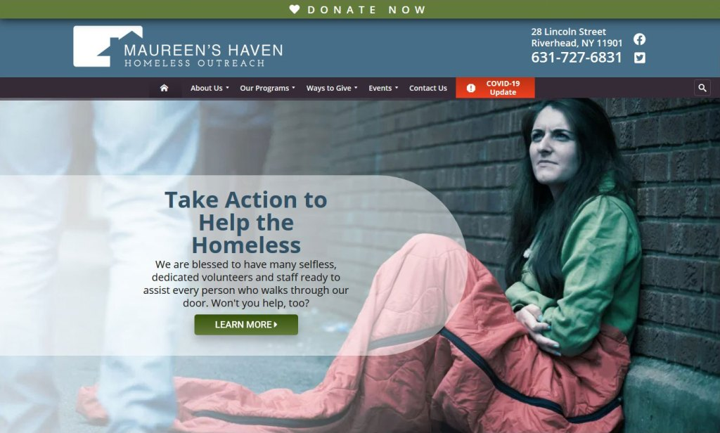 Maureen's Haven Homeless Outreach homepage