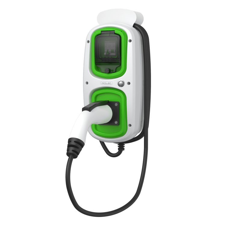 Rolec Wallpod EV tethered charger in grey and green