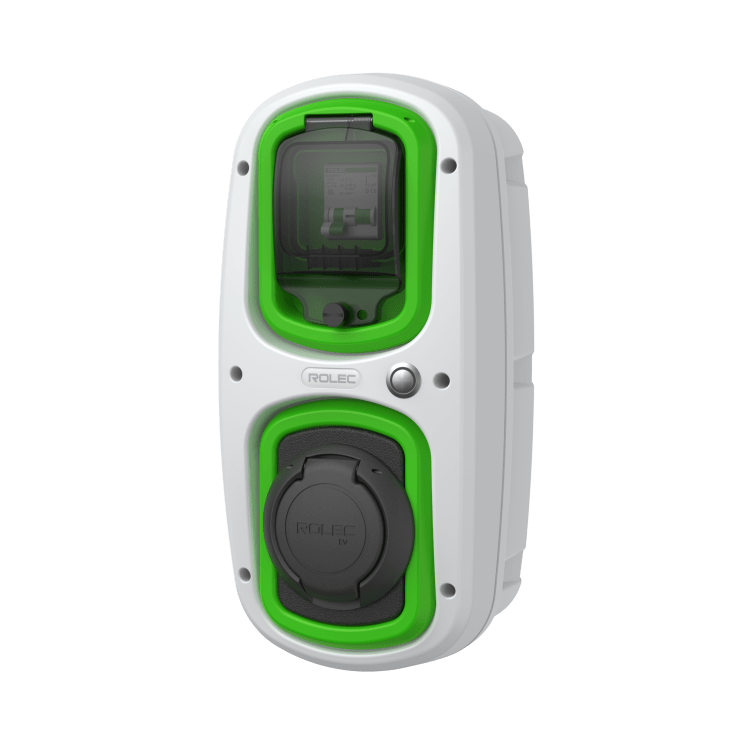 Rolec EV wallpod socket charger in grey and green