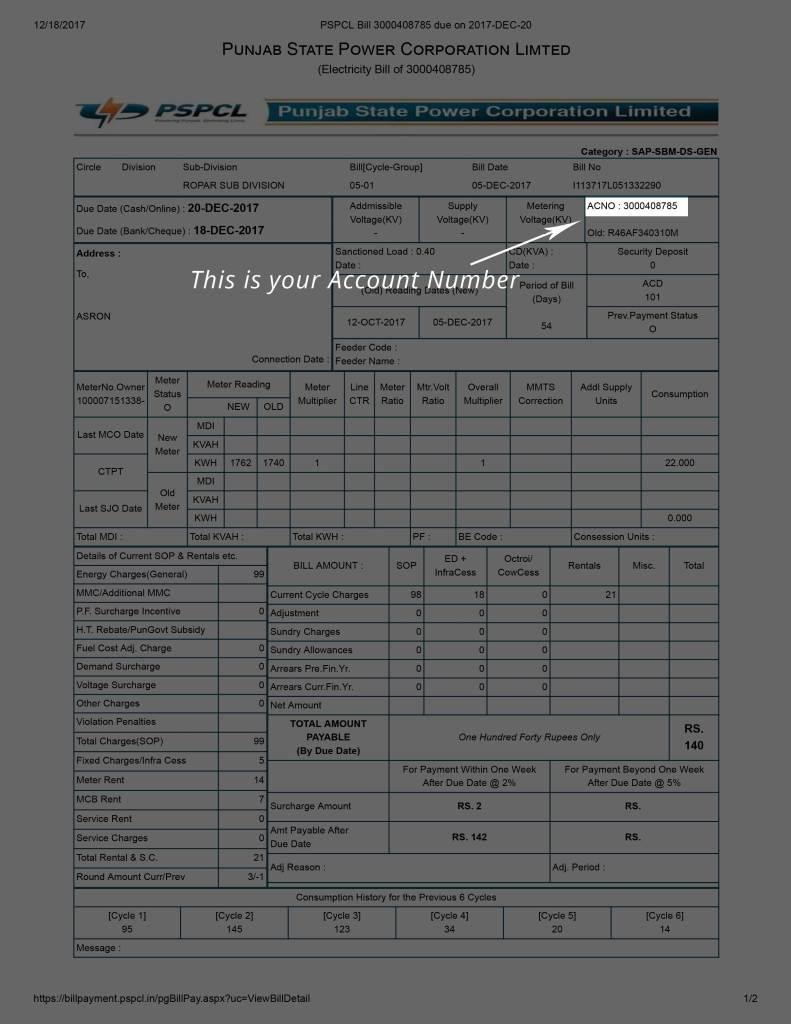 PSPCL Electricity Bill Payment Online