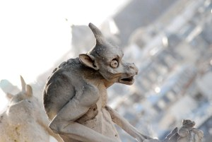 A shellshocked-looking gargoyle from Notre Dame cathedral