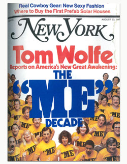 """Cover of New York Magazine, August 23, 1976. Cover line reads: """"Tom Wolfe Reports on America's New Great Awakening: The 'Me' Decade."""" Image is of about two dozen young white people smiling or yelling, all wearing yellow shirts that say """"ME."""""""