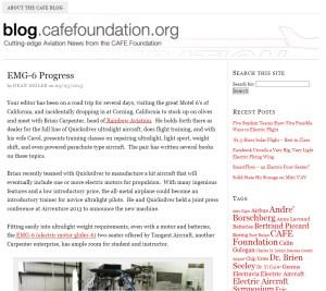 CAFE foundation Blog Article EMG-6 Progress report by Dean Sigler