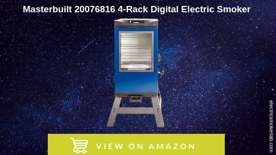 "Masterbuilt 20076816 4-Rack Digital Electric Smoker with Leg Kit Cover and Gloves, 30"", Blue"