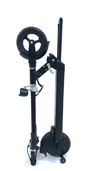 glion dolly electric scooter is folded up and standing in an upright position