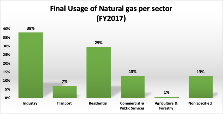 Finale usage of natural gas per sector 2017