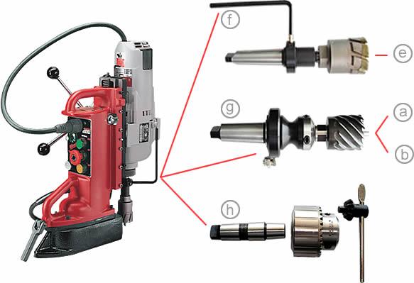 taladro-magnetico-milwaukee-4208 con accesorios varios