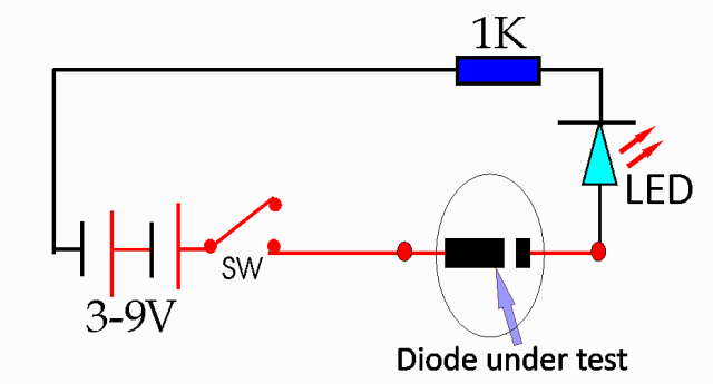 simple diode tester circuit