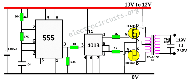 555 and 4013 Inverter Circuit