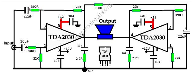 TDA2030 Bridge Amplifier Circuit