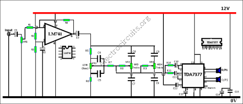 amplifier with bass treble control