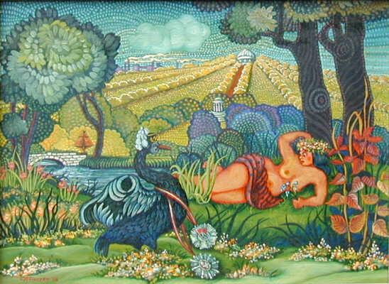 Leda et le Cygne Silésien, tableau de Waldemar Pieczko - 1986. Lien sur l'image.