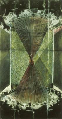 Table Ronde G8, fusain et gouache de Michel Casavant -1986; lien sur l'illustration.
