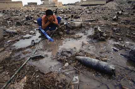 War contaminated debris litter the Iraqi landscape.