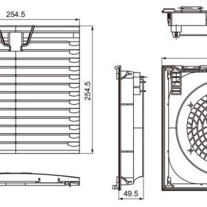 VENTILADOR CON FILTRO 255X255mm 220V 305m3/h 64W