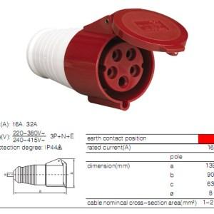 ENCHUFE INDUSTRIAL HEMBRA PROLONGABLE 5X16 380V TYPE: 215