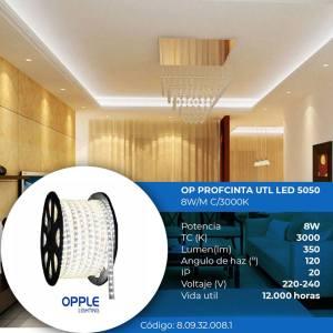 CINTA LED P/EXTERIOR IMPERMEABLE 8W POR METRO LUX BLANCA