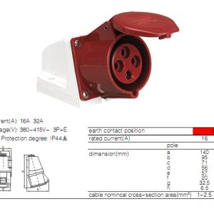 ENCHUFE INDUSTRIAL HEMBRA 4X32 380V TYPE: 124