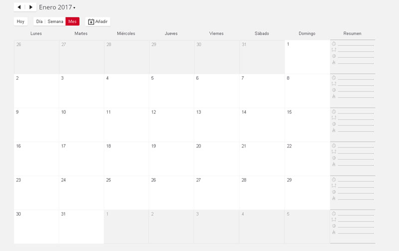 web Polar Flow calendario