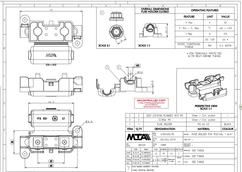 Mta Fuse Holder Mta 32v 125a 40mm