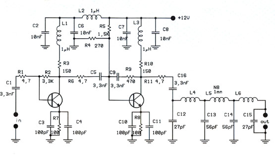 1W Linear FM Transmitter Booster With 2N4427