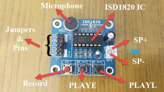 ISD1820 الشّكل (3): العناصر المكوّنة لوحدة تسجيل الصّوت