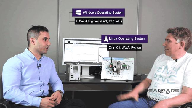 يوضح قدرة PLCnext على التعامل مع عدة أنظمة تشغيل.