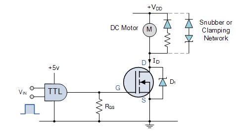 استخدام MOSFET استطاعة عالية للتحكم في محرك تيَّار مستمر (مصدر الصورة: موقع electronics-tutorials)
