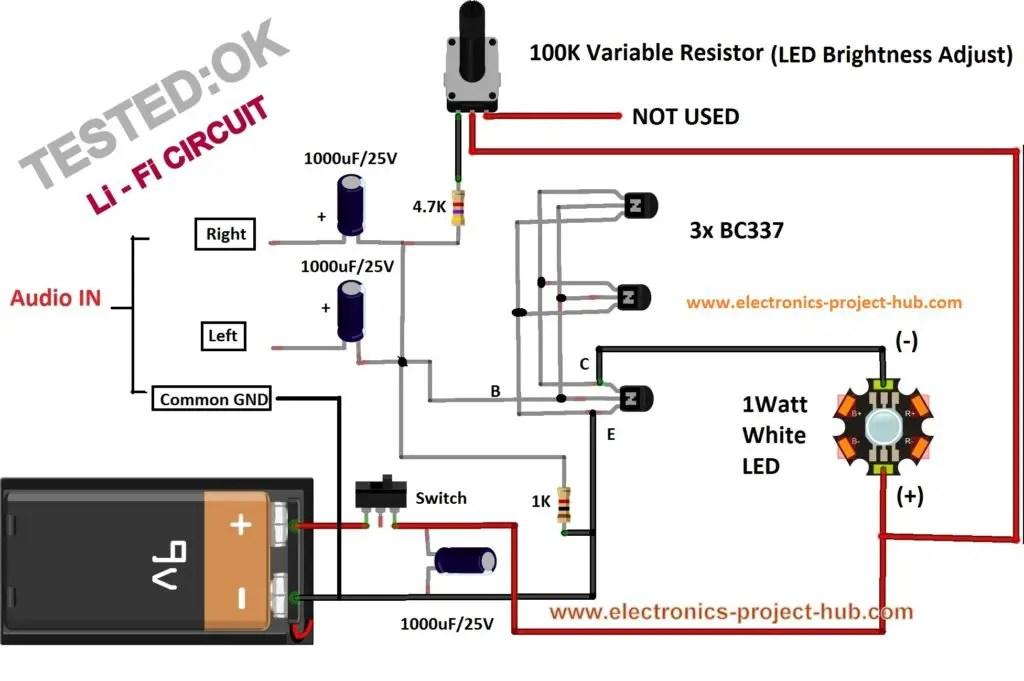 Simple Li-Fi Circuit Using Transistor