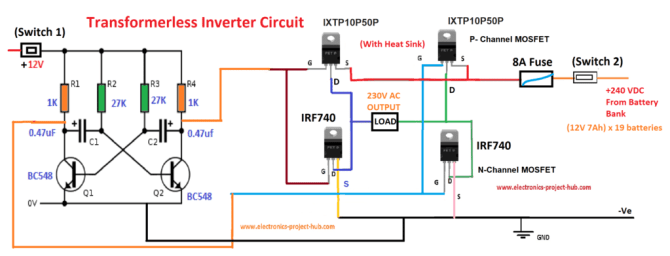 6 best – simple inverter circuit diagrams – diy electronics
