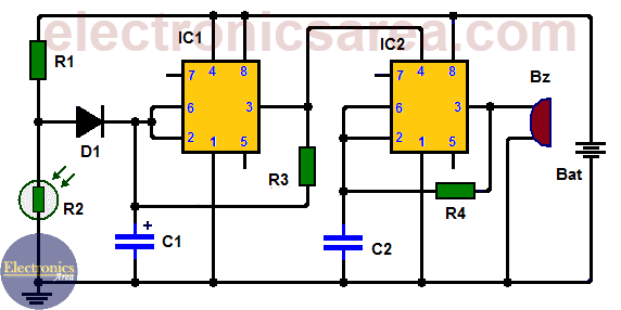 Refrigerator Door Alarm Circuit With Two 555 Timers
